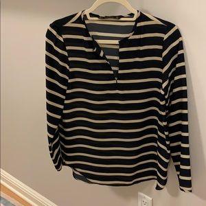 Zara navy striped blouse